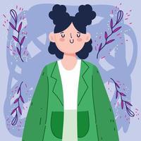 mulher avatar com pãezinhos vetor