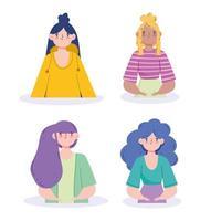 conjunto de avatares femininos vetor