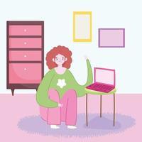 jovem mulher com laptop na mobília da sala de mesa vetor