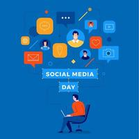 design de usuário conectado do dia da mídia social vetor