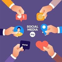 mídia social dia mãos segurando ícones de design vetor