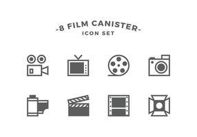 Vasilha Linha Film Icon Set Vector
