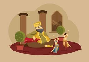 Sultan com dançarino de barriga Ilustração vetor