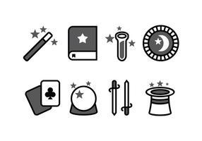 Conjunto de ícones mágicos vetor