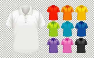 conjunto de diferentes tipos de camisa em cores diferentes vetor
