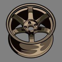desenho de roda de carro em bronze vetor