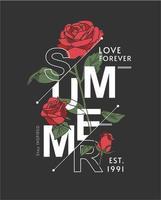 letras de verão com rosas vermelhas vetor