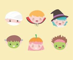 rostos de crianças com personagens fantasiados vetor