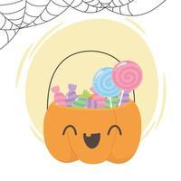 Cesta fofa em forma de abóbora com doces