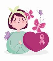 mulher cartoon câncer de mama vetor