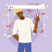 desenho animado do homem da festa virtual