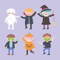 feliz Dia das Bruxas. personagens fantasiados grupo crianças vetor