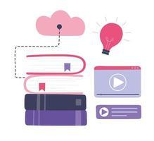 treinamento on-line. livros, computação em nuvem e educação em vídeo vetor