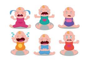 Bonito Bebê de grito Vector Set