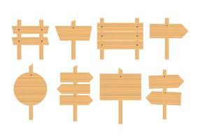 Livre de madeira em branco Sinal da placa Vectors