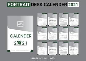 conjunto de modelo de calendário 2021 branco e verde vetor