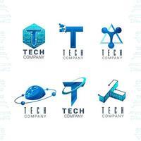 conjunto de logotipo de alta tecnologia vetor