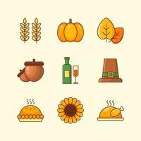 esboço conjunto de ícones do dia de ação de graças vetor