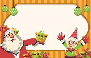 Papai Noel alegre e seu fundo de ajudante vetor