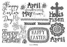 Mão bonito estilo desenhado Easter Doodles vetor