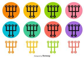 Deslocamento de engrenagem Ícones coloridos do vetor