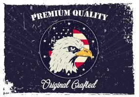 American Head Eagle no fundo azul vetor