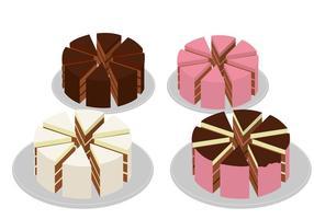 Oito peças Fatia do bolo vetor