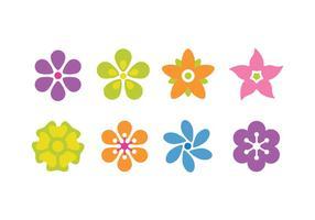 Flor Plano Conjunto de ícones vetor