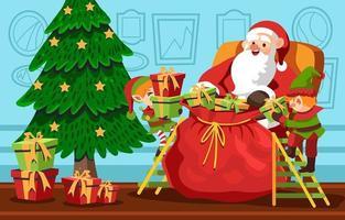 Papai Noel preparando um presente com seu ajudante vetor
