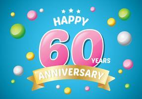 Ilustração 60º Aniversário vetor