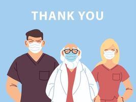 obrigado doutor e enfermeiras design vetor