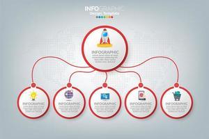 modelo e ícones de infográfico. conceito de negócio com processos. vetor