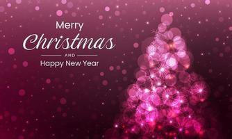 feliz natal com árvore rosa cintilante vetor