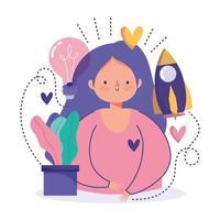 conceito de criatividade e tecnologia com mulher e ícones vetor