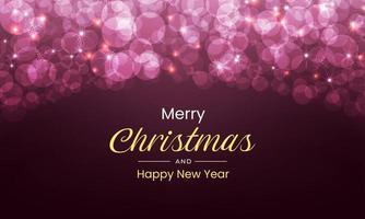 feliz natal e ano novo com luzes luxuosas vetor