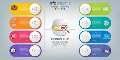 infográficos para o conceito de SEO com ícones e etapas