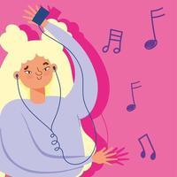 garota hype ouvindo música vetor