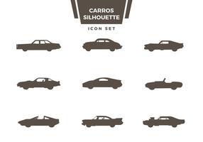 Carro silhueta ícone conjunto vetor