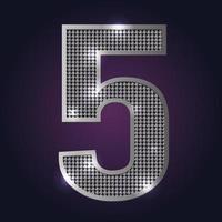 número 5 bling bling vetor