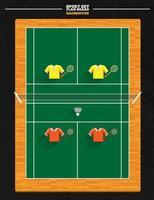 badminton e quadra vetor