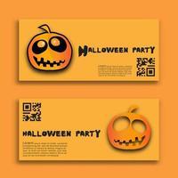 conjunto de banners de festa de halloween com abóboras laranja vetor