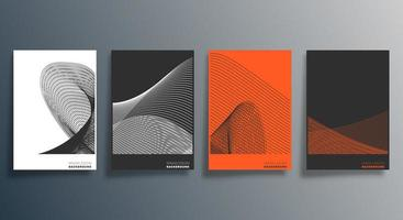 conjunto de desenho geométrico minimalista em laranja e preto vetor
