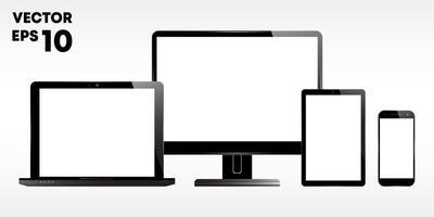 laptop, monitor de computador, tela, tablet e smartphone vetor