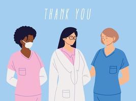 obrigado design feminino médico e enfermeiras vetor
