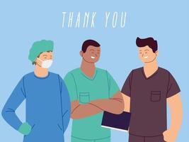 obrigado médicos e enfermeiras cumprimentando vetor