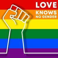 o amor não conhece gênero. design de tipografia lgbt vetor