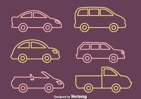 Coleção de vetores carro Contorno