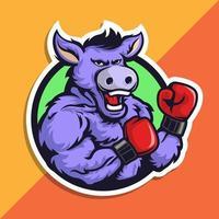 design de mascote de boxe burro vetor
