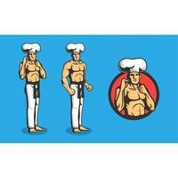 conjunto de logotipo de chef masculino boxe