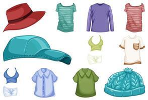 conjunto de roupas e acessórios de moda em fundo branco vetor